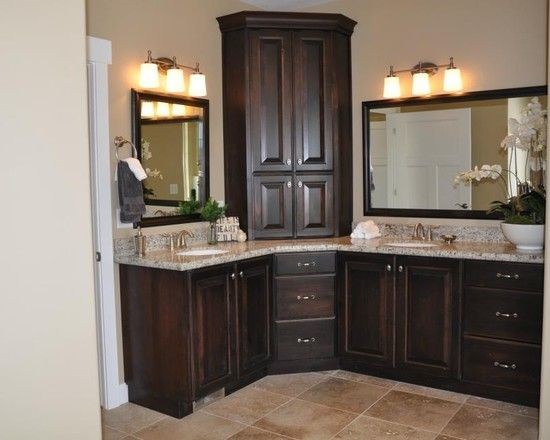 master bathroom vanity with corner cabinet upper and