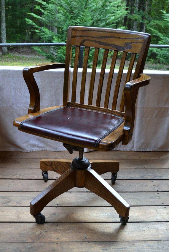 Vintage Wood Oak Office Chair Swivel Wheels Vinyl Seat