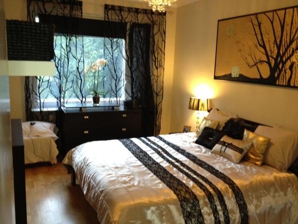 small master bedroom new bed liningin cream black and