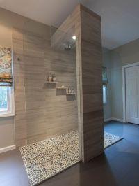 Bathroom Design, Cool Open Shower With Pebble Floor Design ...