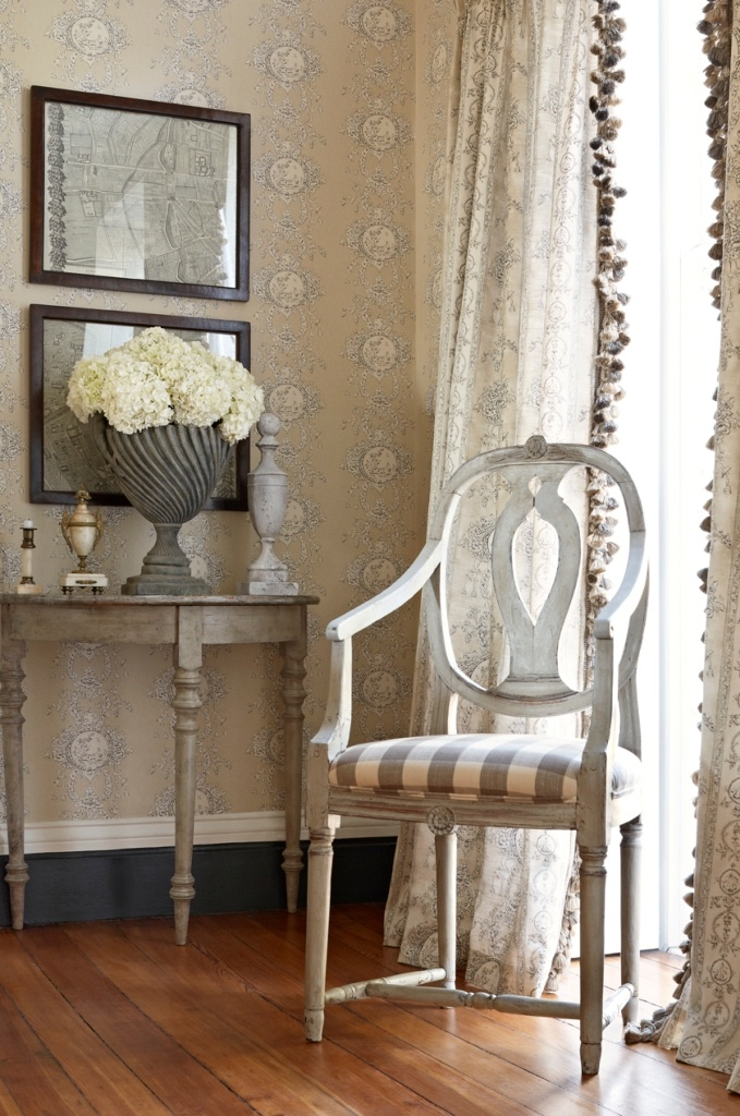 Charles Faudree For Stroheim Collection Wallcovering Monique In Color Peastone Chair Biron