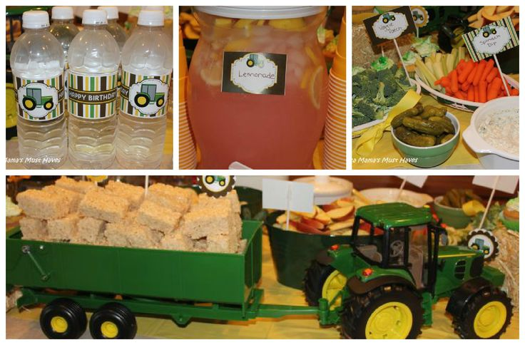 John Deere Tractor Party – Tons of food ideas, love the rice krispie hay bales in the tractor!