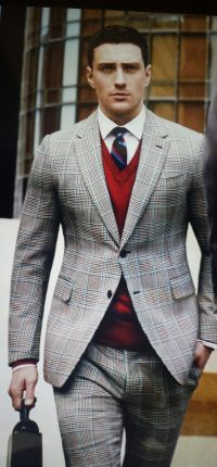 Men's Grey Plaid Suit, Red V-neck Sweater, White Dress ...