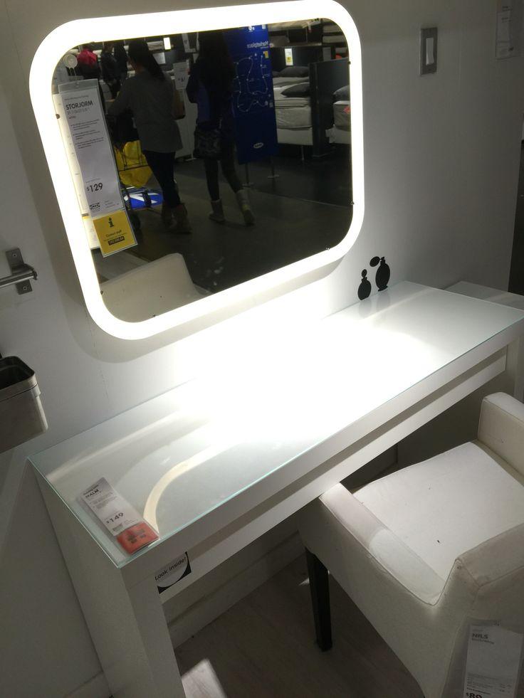 Malm dressing table  Storjorm lighted mirror  IKEA  Dream Vanity  Pinterest  Lighted mirror