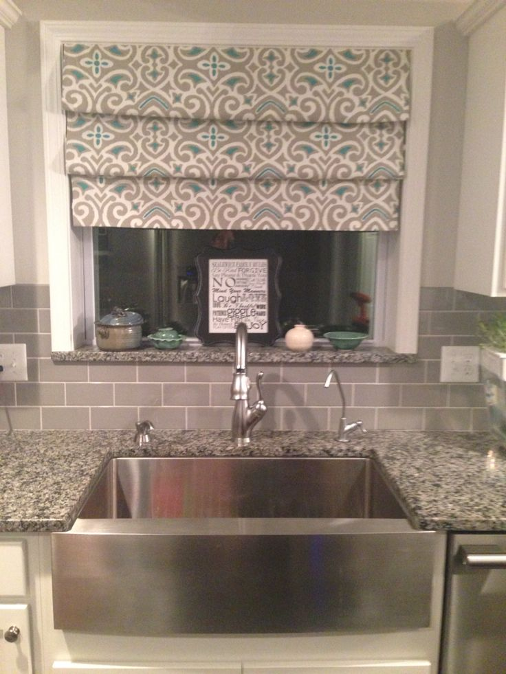 No sew drapes over sink Tension rods Fake Roman shades