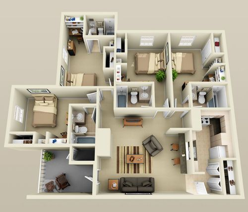 25 Best Ideas About 4 Bedroom Apartments On Pinterest 3d House