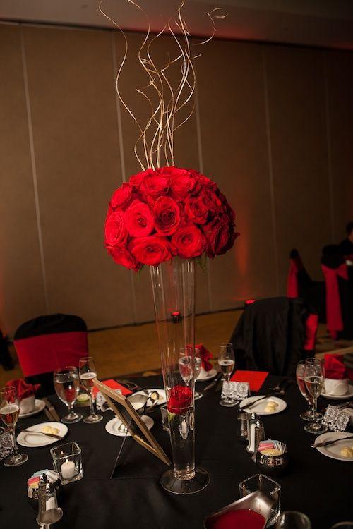 elegant red roses centerpiece  Wedding Centerpieces  Pinterest  Single rose Centerpieces