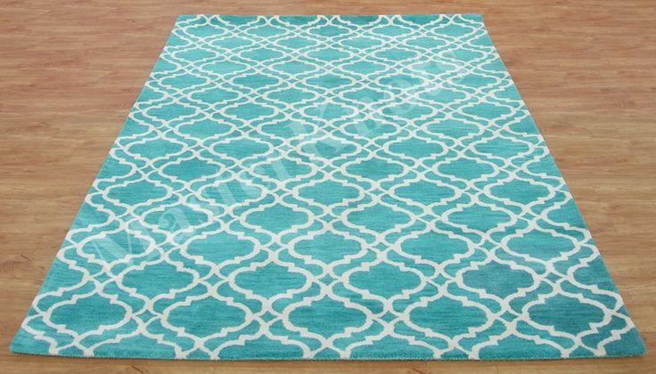 Riyana Scroll Tile Aqua Green 8 x 10 Handmade 100 Wool