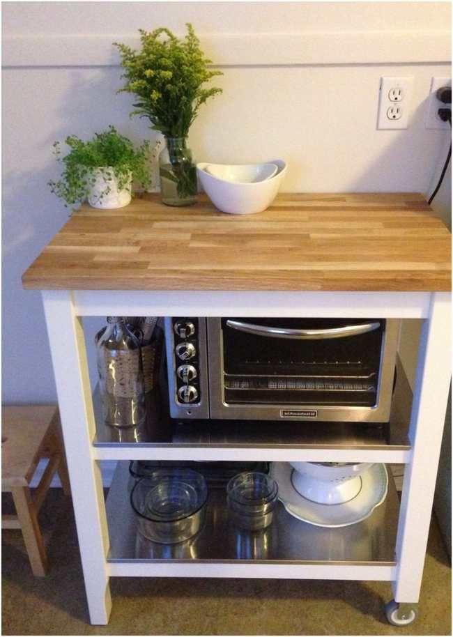 Ikea Kitchen Cart Stenstorp Microwave On Lower Level