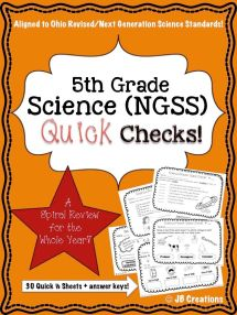 5th Grade Science Quick Check Spiral Review Set NGSSOhio