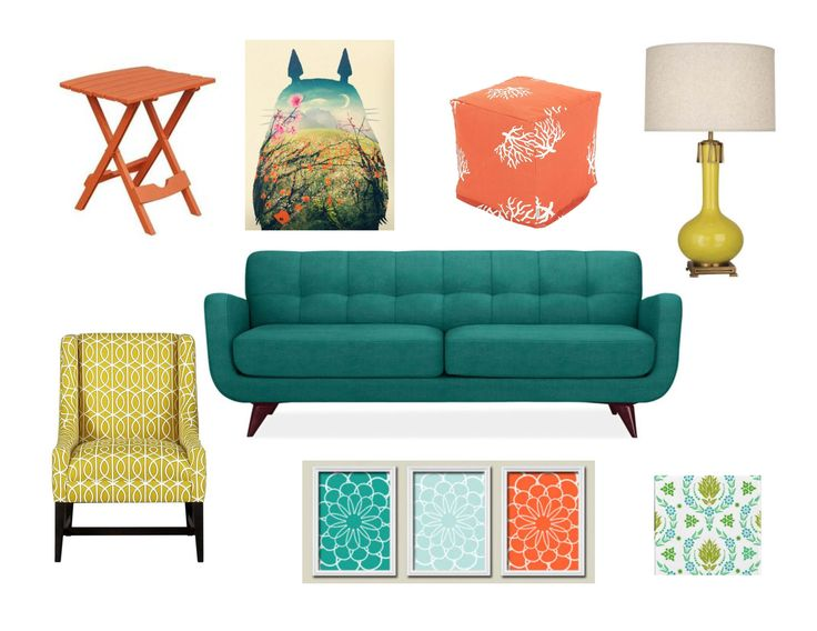 Muted Turquoise Burnt Orange Golden Yellow And Pea Green Color Scheme For Living Room