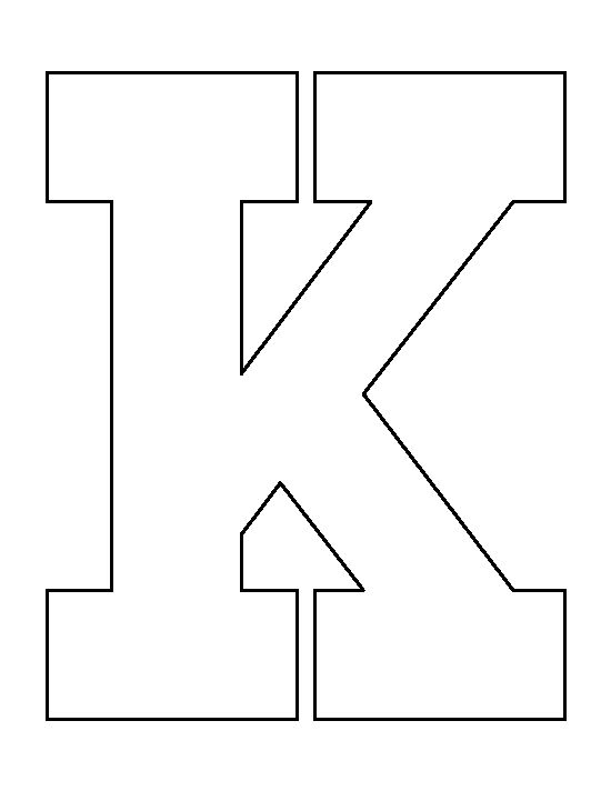 Letter K pattern. Use the printable outline for crafts