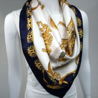 Authentic Hermes Silk Scarf Les Cavaliers D'Or Navy and ...