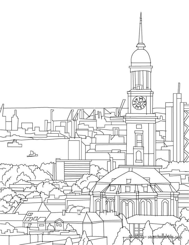 HAMBURG PROTESTANT CHURCH OF ST. MICHAELIS coloring page