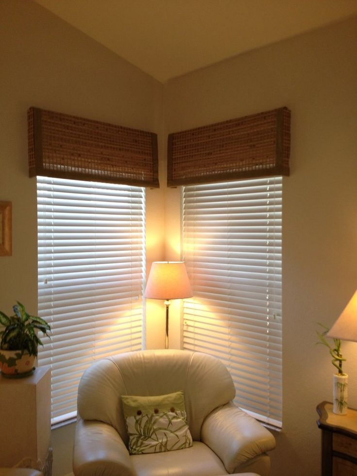 Faux Wood Blinds with Woven Wood Valances  Yelp  Livingroom  Pinterest  Wood valance Photos