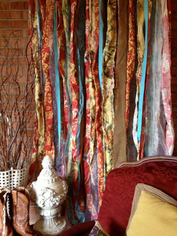 Boho Fabric Garland Curtain Backdrop  best idea for