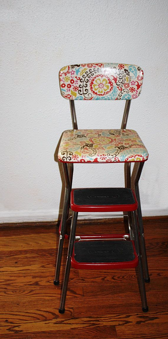 retro chair stool used kermit for sale vintage restored cosco kitchen step retro, very cool, groovy back and seat cover, love it ...