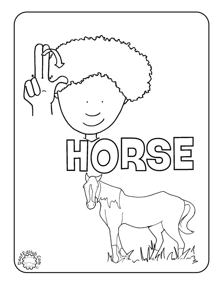ASL coloring page for the sign 'horse' I just posted 19