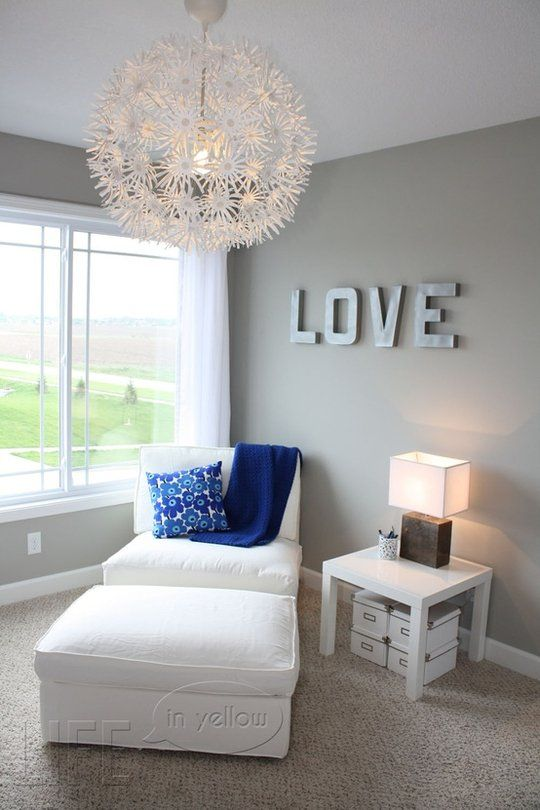 Grey room white trim brown furniture grayblue and