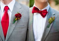 Gallery Gray Suit White Shirt Red Tie