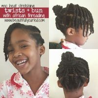Ghana Plaits (African Threading) into a bun with side bang ...
