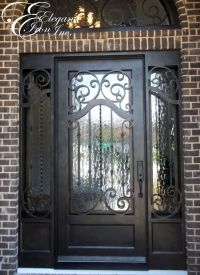 Custom iron door with side lights and transom. | Single ...