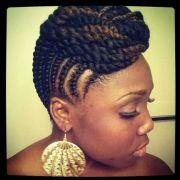 flat twist updo hair