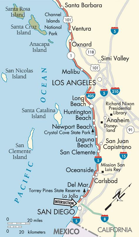 Pacific Coast Santa Barbara to San Diego map My Style