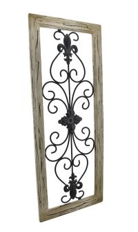 elk rod iron wall decor | ... Tan Frame Wrought Iron Fleur ...