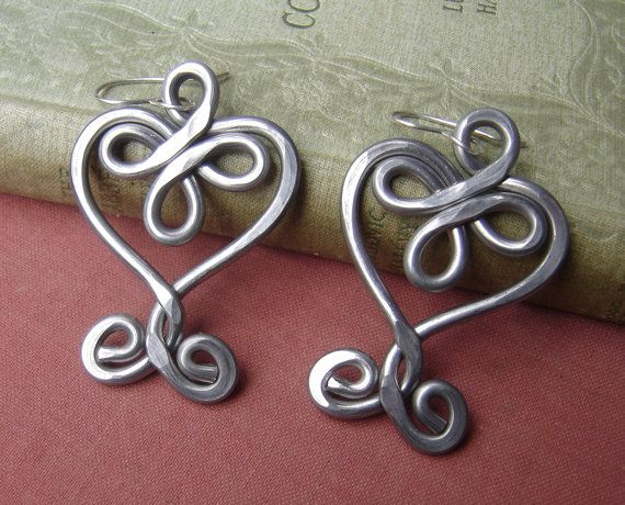 Very Big Celtic Heart Earrings  Valentines by nicholasandfelice, $22.00
