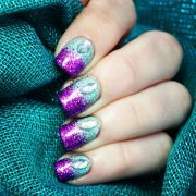 purple teal glitter gradient nails