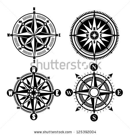 stock vector : vector black compass icons set on gray