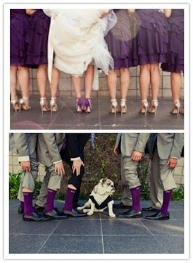 Purple! Love that the brides' wearing color shoes and the bridesmaids white. Lov