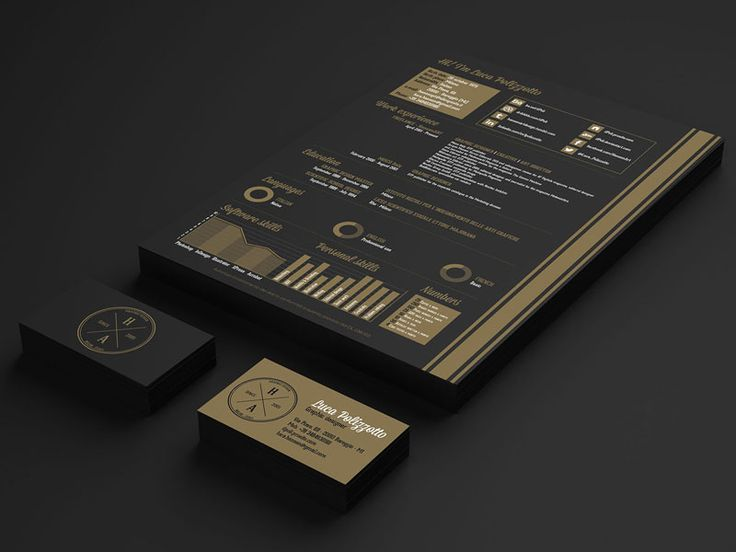 Second resume design I have seen a classy gold and black