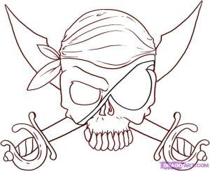 draw skull jolly roger easy drawing drawings step pirate cutlasses nice skulls skeleton hat things designs tattoo tattoos knitted mud
