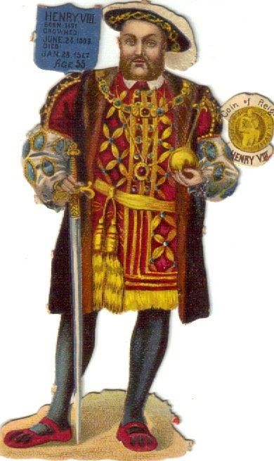 Victorian Die Cut Scrap Raphael Tuck King Henry VIII Of