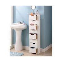 Bathroom Storage Cabinet Slim White 8 Drawer Tall ...