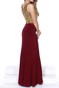 Burgundy & Gold Embellished Sexy Two Piece Jersey Prom ...