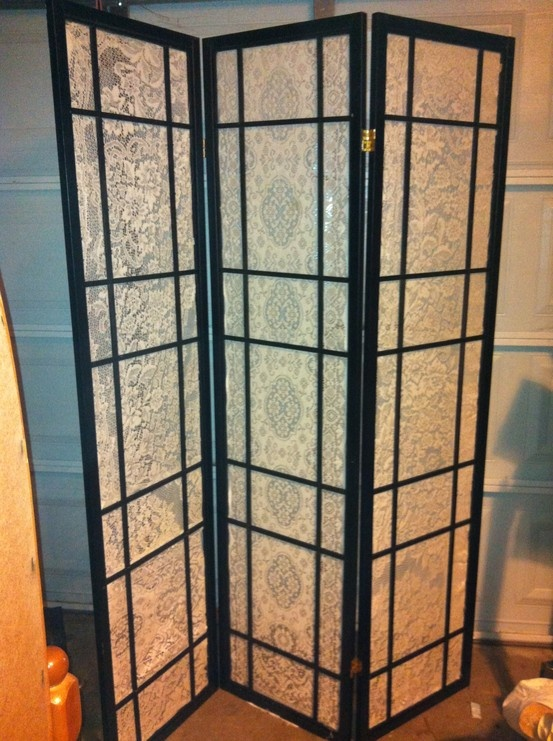 Repurposed japanese screen room divider and old lace tablecloths  For the Home  Pinterest