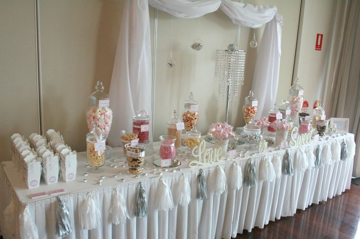 White Wedding Lolly Buffet Done By Candy Kisses Lolly Bar
