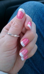 pink and white gel nails