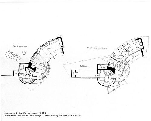 Curtis and Lillian Meyer House Plan (1951), Frank Lloyd