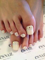 ivory pedi wedding toe nails