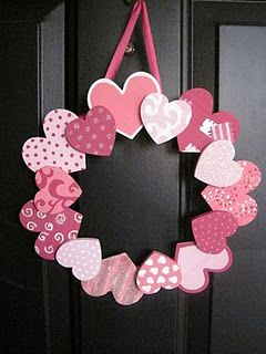 Valentine's day wreath- they do it with wooden hearts but I might make some out of cardstock and let the boys make these as a