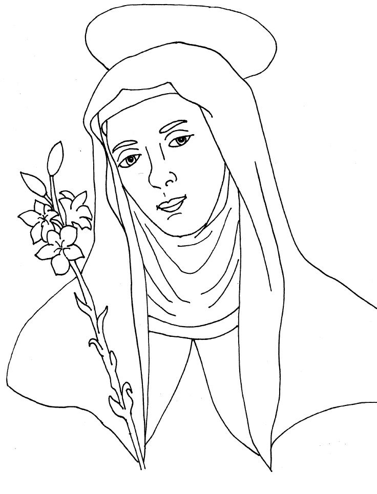 Catholic Coloring Pages St Catherine Of Siena
