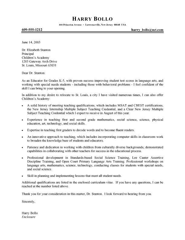 Professional Teacher Cover Letter  job hunt  Pinterest  Letter sample Teaching and Letter