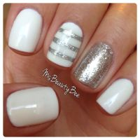 White & Silver Striped Nails. Gelish - Arctic Freeze ...