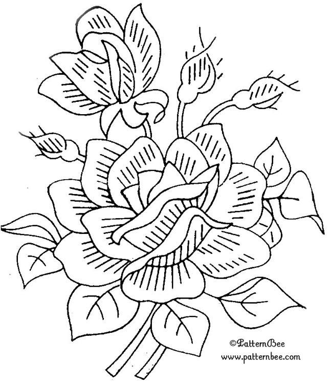 embroidery pattern, colour it, sew it, trace it, etc