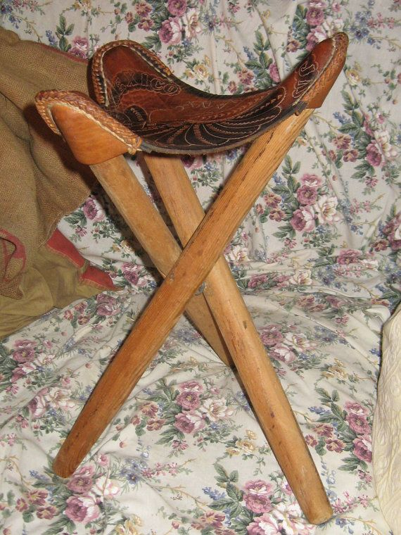 folding chair legs floor cover for under high vintage hand tooled mexican leather saddle seat tripod stool rustic decor ...