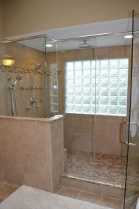 Walk in shower with glass block windows. | Bathroom Ideas ...